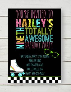 80's Party Neon Roller Skating Invitation by BelvaJune on Etsy, $9.00