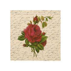 Vintage Red Rose Wood Prints