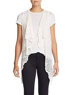 XCVI Water Lily Lace Vest - Dark Navy - Size X Small/S