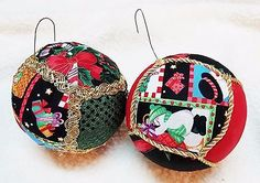 Vintage Styrofoam Cloth Covered Christmas Ball Ornaments Set of 2  15 1/2 inch