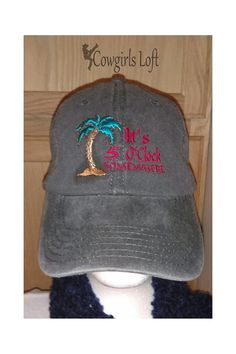 Embroidered Cap It's 5 O'Clock Somewhere Beach Palm Tree Black Hat Faded Look Cotton Denim Baseball Cap by CowgirlsLoft on Etsy