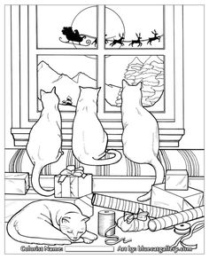 free coloring page from Santa's Cats: Adult Coloring Book