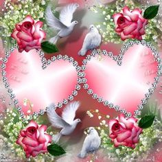 By Artist Unknown. Beautiful Love Pictures, Beautiful Gif, Love Images, Animated Heart, Art Carte, Hearts And Roses, Beautiful Rose Flowers, Heart Pictures, I Love Heart