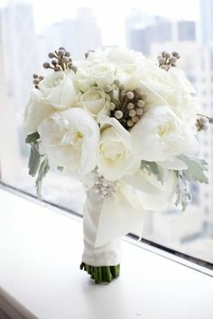 Cream, white + grey Bouquet