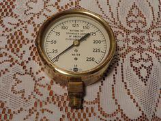 Vintage Industrial Brass Pressure Gauge, Fire Protection Water Gauge 1968 by BubbiesMemories on Etsy