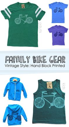 Family Bike T-shirts: awesome vintage-style hand-printed eco-gear from elSage Design.  *love the green t-shirt.