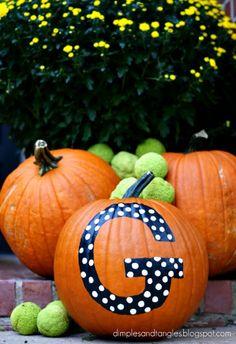 Outdoor Fall Decorating Ideas, black and white polka dot monogram pumpkin.