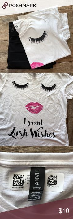 """🆕 Cute Lash Wishes Tee Brand New """"I Grant Lash Wishes"""" Short Sleeve White Tee, Size XL. Solid White back. 100 % Soft Cotton. Approximate Measurements: UA to UA 22"""" & Length is 27.5"""". Great gift for your Fav Lash Stylist! Tops Tees - Short Sleeve"""