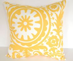 Throw pillows yellow set of two 18 x 18 yellow by ThePillowPeople, $32.00