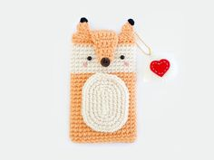 Crochet Fox iPhone 6 6 case with Qoute Love Keychain by Meemanan