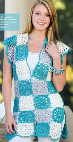 New Trend Granny Sqaure Crochet Top Pattern Ideas Part 17 : New Trend G. New Trend Granny Sqaure Crochet Top Pattern Ideas Part 17 : New Trend Granny Sqaure Croche Granny Square Sweater, Granny Square Crochet Pattern, Crochet Squares, Granny Squares, Crochet Diagram, Crochet Blouse, Crochet Shawl, Crochet Stitches, Knit Dress