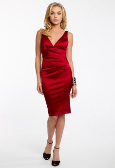 SATIN V-NECK DRESS #red #dresses #evening #camillelavie #groupusa