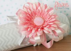Pink Gerber Daisy Wrist Corsage With Pearl by FlowersMakeADate