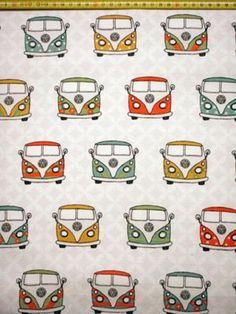 Stoff grafische Muster - Stoff - VW Bus - Hippie Bus  - ein Designerstück von Gestrickt-genaeht bei DaWanda