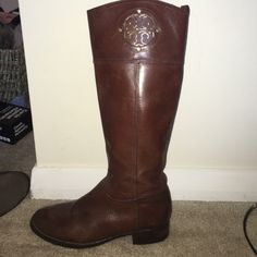 Tory Burch Riding Boots Authentic Tory Burch riding boots. Brown leather with gold details. Worn but in great condition! Fit true to size. Tory Burch Shoes