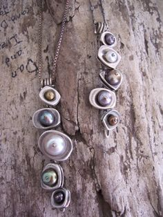 Earthy Modern Hand Forged Oxidized Sterling Silver Vertebrae Necklace with Button Pearls