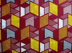 coupon tissu africain wax, bordeaux et jaune