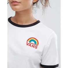 Vans Rainbow Logo Ringer T-Shirt (155 BRL) ❤ liked on Polyvore featuring tops, t-shirts, logo t shirts, sport t shirt, crew neck tee, star t shirt and crewneck tee