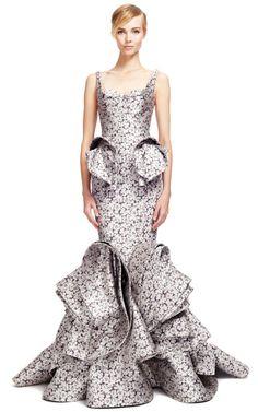 ZAC POSEN Camelia Jacquard Gown $12,990 ($6,495 deposit)