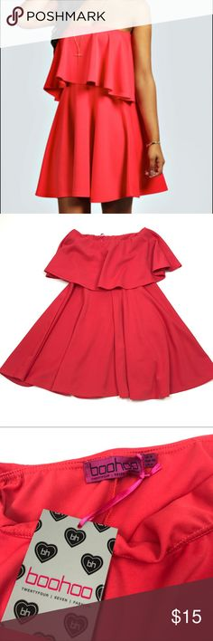 """NWT Boohoo Bandeau Peplum Skater Dress Pink 4 Boohoo Bandeau Peplum Skater Dress in Scarlett Pink Size 4  Elasticized top, stretch fit  Pit to Pit: 12""""  Length: 25""""  Condition: New with tags. Boohoo Dresses Strapless"""