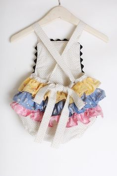 Baby Romper Ruffles in Pastels Vintage Style by SadieKayBoutique, $32.00