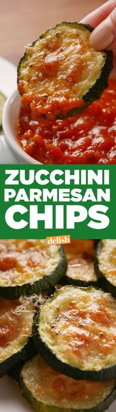 These zucchini parmesan chips are giving potato chips a healthy makeover. Get the recipe from Delish Parmesan Chips, Zucchini Parmesan, Healthy Zucchini, Simple Zucchini Recipes, Grilled Zucchini, Veggie Recipes, Low Carb Recipes, Vegetarian Recipes, Cooking Recipes