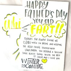 "Dad is one person we maybe don't say ""I love you"" to often enough, but that doesn't mean we don't love him. He's actually pretty great, and we're here to help you let him know with some Father's Day quotes to use in your cards.    #fathersday #father #happyfathersday #fathersdaygifts #fathersdaycards ##fathersdayideas #fathersdayquotes ##fathersdaygift ##fathersdaycard #handwrittencard #cardart #mailart #handwriting #doodles Fathers Day Cards, Happy Fathers Day, Fathersday Quotes, Days To Christmas, Send A Card, Say I Love You, Writing Tips, Be Yourself Quotes, Handwriting"