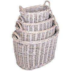 Oval grey wash rattan baskets