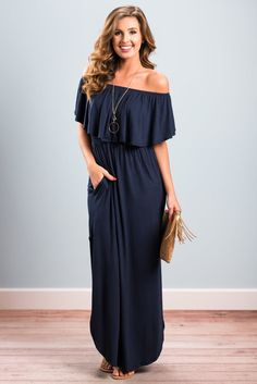This maxi dress is causal yet so stunning! The elastic waist keeps this beauty ultra flattering and comfy! You are going to love the off the shoulder neckline too! Especially with the flowing ruffle!  Material has generous amount of stretch. Chelsea is wearing the small.Sizes fit: Small- 0-4; Medium- 6; Large- 8; Extra large- 10