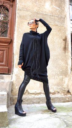 SALE NEW Oversize ANGORA Black Loose Dress / Asymmetric Raglan