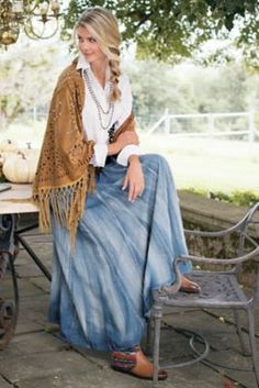 Silverton Denim Skirt   Soft Surroundings $90