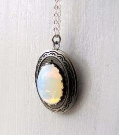 Vintage Inspired White Opal Locket