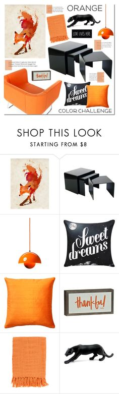 """Color Challenge: Orange and Black"" by mada-malureanu ❤ liked on Polyvore featuring interior, interiors, interior design, home, home decor, interior decorating, Eos, Monde Mosaic, &Tradition and Pillow Decor"