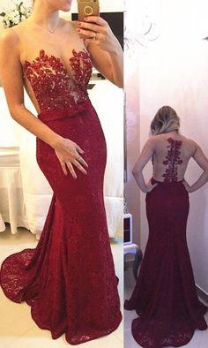 Sexy Long Mermaid Prom Dress,Burgundy Scoop Court Train Bowknot , Prom Dress,Chiffon Evening Dress