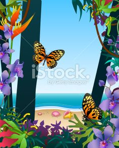 Vector stock illustration of a view of the ocean from the jungle with orange tropical butterflies. Visit her portfolio website http://www.konkle.com