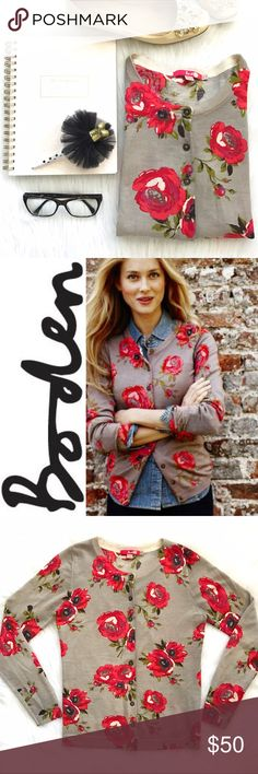 Boden Cardigan • Floral Cardigan Boden printed cardigan. A gorgeous floral print inspired by nature in 100% merino wool. The natural choice for smart day or evening.  Boden US Size 6. UK Size 10. 100% wool.  floral • red • pink • magenta • green • sage • brown • taupe • beige Boden Sweaters Cardigans