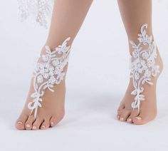 5 Pairs, 3 Colors Bridesmaid Gifts barefoot sandals, White Lace Sandals Beach wedding shoes, beach anklets, Beach Wedding barefoot sandals,