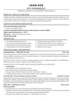 emt paramedic resume example resume examples pinterest resume