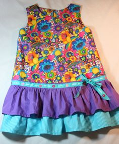 Girls' Spring/Summer Dress, Size 7/8, Bright Colors, Ruffled, Sleeveless, available at etsy.com/ shop/elizabethsroom