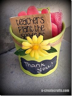 Great valentine idea for a teacher or coach!  Thrift Town has lots of pots, garden gloves, and plastic florals.  This gift can be recreated for under $3!