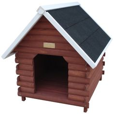 Give your pooch a mountain retreat with the Advantek Mountain Cabin Dog House . This log-cabin inspired dog house is both a spacious spot for the dog. Wood Dog House, Small Dog House, Dog House For Sale, Build A Dog House, Dog House Plans, Wood Dog Crate, Large Dog Crate, Dog Crates, Large Dogs