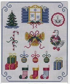 ,@**★ Xmas Cross Stitch, Cross Stitch Christmas Ornaments, Christmas Embroidery, Christmas Cross, Cross Stitch Charts, Counted Cross Stitch Patterns, Cross Stitch Designs, Cross Stitching, Cross Stitch Embroidery
