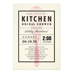 Kitchen Bridal Shower Invitations