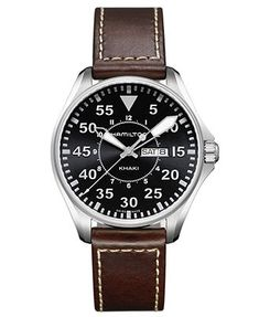 Hamilton Watch, Men's Swiss Khaki Pilot Brown Leather Strap 42mm H64611535
