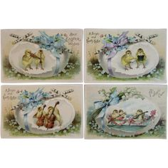 4 German Musical Chicks Easter Postcards Violin Cello Mandolin Singing Eggs Rowboat by International Art Publishers Co IAP