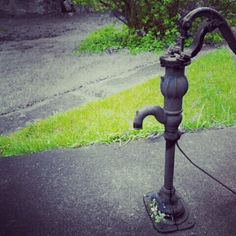Old water pump at school. Color edited