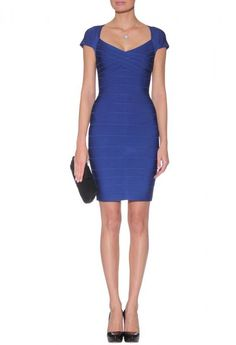 Herve Leger Royal Blue Cap Sleeve Bandage Dress HL00341 Time is limited, the price is world lowest.$135.8