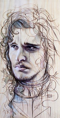 Jon Snow - Illustrations by Fay Helfer     (pyrography and pastel on wood)