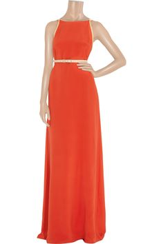 bally leather trimmed silk-crepe gown