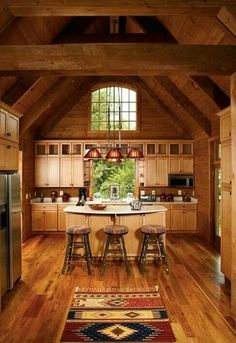 Love this kitchen with the Aztec rug